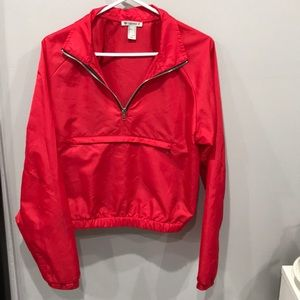 Forever21 red quarter zip wind breaker